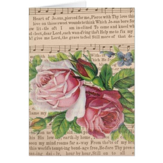 Tarjeta Corazón de la música de Jesús con los rosas y las