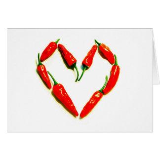 Tarjeta corazón de los chiles