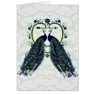 Tarjeta Corazón del amor del pavo real del PEAFOWL