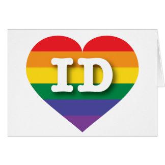 Tarjeta Corazón del arco iris del orgullo gay de Idaho -