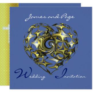 Tarjeta Corazón del azul y del oro con la cruz