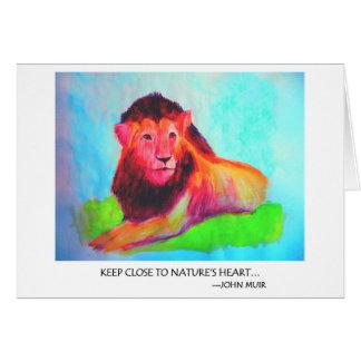 Tarjeta Corazón del león - protección John Muir del animal
