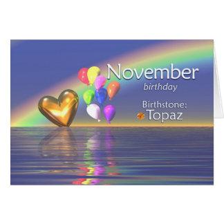 Tarjeta Corazón del Topaz del cumpleaños de noviembre