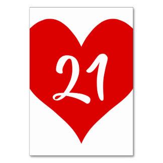 Tarjeta Corazón numerado rojo