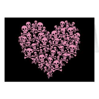 Tarjeta Corazón rosado punky del cráneo