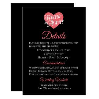 Tarjeta Corazón rosado y negro del amor de las direcciones