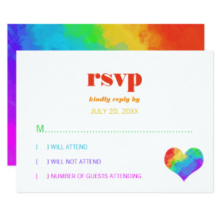 Tarjeta Corazón RSVP que se casa lesbiano gay de la