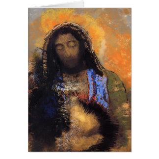 Tarjeta Corazón sagrado de Odilon Redon-
