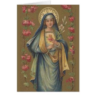 Tarjeta Corazón triste inmaculado del vintage de Maria