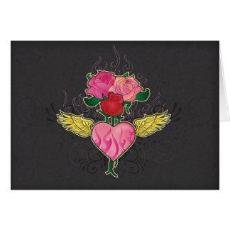Tarjeta Corazón y rosas Notecard