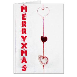 Tarjeta Corazones de las Felices Navidad