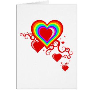 Tarjeta corazones del squiggle del arco iris