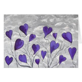 Tarjeta Corazones púrpuras