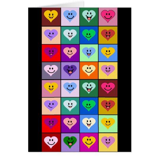 Tarjeta Corazones sonrientes multicolores