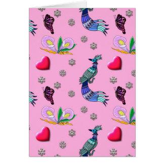 Tarjeta Corazones y pavos reales - rosados y placer