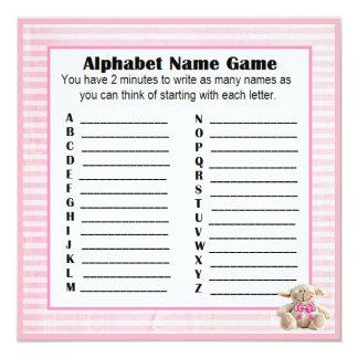 Tarjeta Cordero del rosa del juego del nombre y del bingo
