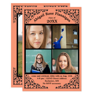 Tarjeta Cordón coralino del collage de la foto -