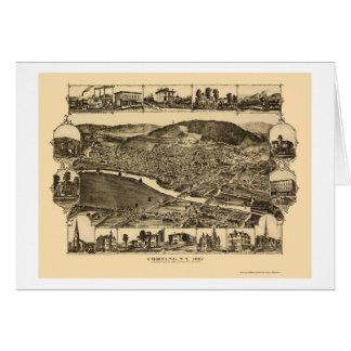 Tarjeta Corning, mapa panorámico de NY - 1882