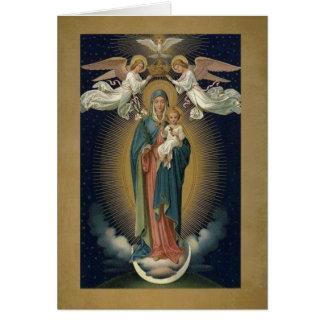 Tarjeta Coronación del Virgen María w/Jesus y de ángeles