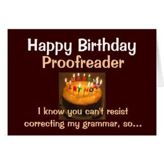 Tarjeta Corrector de pruebas del feliz cumpleaños