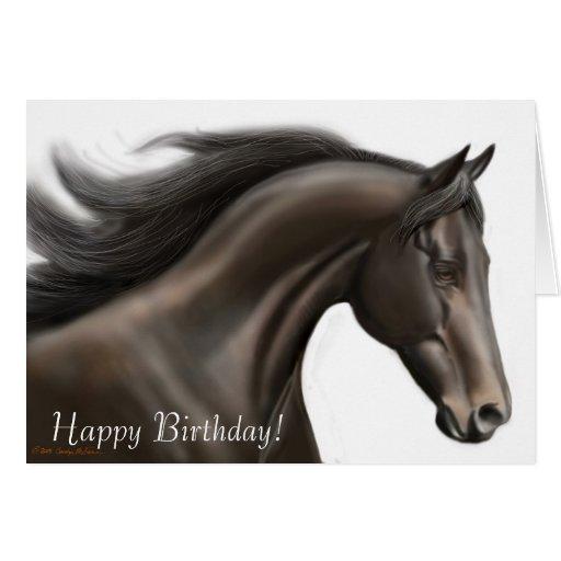 Tarjeta corriente del caballo del feliz cumpleaños | Zazzle