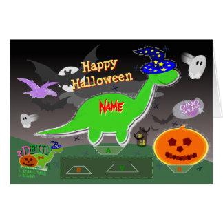 Tarjeta Corte de los dinosaurios 3D del feliz Halloween y