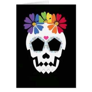 Tarjeta Cráneo con las flores del arco iris
