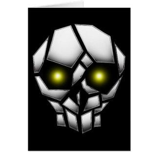 Tarjeta Cráneo plateado cromo con los ojos que brillan