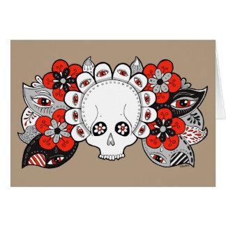 """Tarjeta Cráneo y flores del """"renacimiento"""" que dibujan la"""