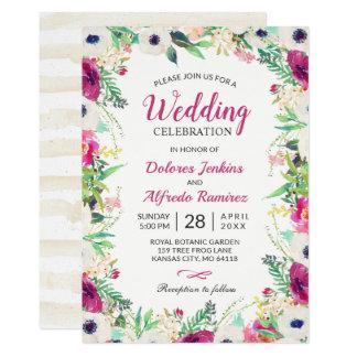 Tarjeta Crema de la primavera y boda floral de la acuarela