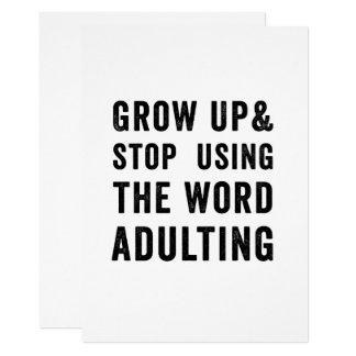 Tarjeta Crezca y pare el usar de la palabra Adulting