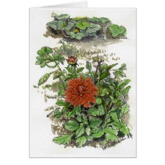 Tarjeta Crisantemo rojo