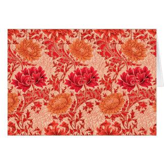 Tarjeta Crisantemos de William Morris, naranja coralino