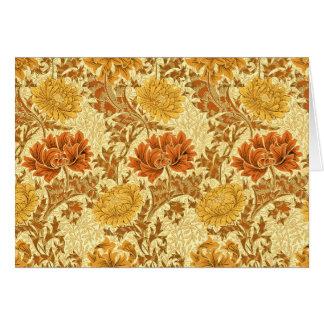 Tarjeta Crisantemos de William Morris, oro de la mostaza