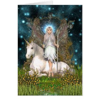 Tarjeta cristalina de la hada y del unicornio