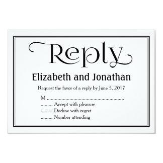 Tarjeta cristiana blanco y negro simple de RSVP Invitación 8,9 X 12,7 Cm