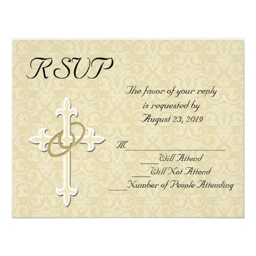 Tarjeta cristiana de RSVP de los anillos que se Comunicado