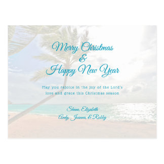 Postal Tarjeta cristiana tropical del mensaje del Año