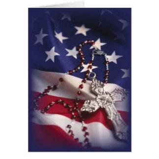 Tarjeta Cruz 3437 y bandera patrióticas