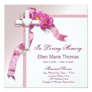 Tarjeta Cruz color de rosa rosada en monumento cariñoso de