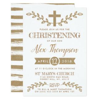 Tarjeta Cruz de Kraft y bautizo rústicos del follaje