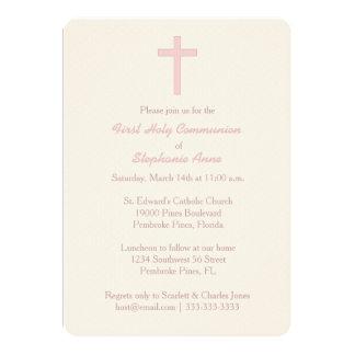 Tarjeta Cruz del rosa en colores pastel de la comunión