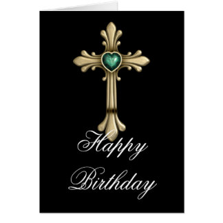 Tarjeta cruzada verde de oro del feliz cumpleaños