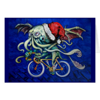 Tarjeta Cthulhu en una bicicleta