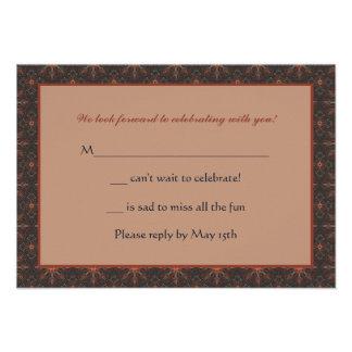 Tarjeta cuadrada de la respuesta de la confirmació invitaciones personales
