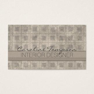 Tarjeta cuadrada gris del interiorista del vintage