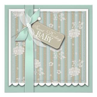 Tarjeta cuadrada recién nacida invitacion personalizada