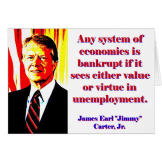 Tarjeta Cualquie sistema de economía - Jimmy Carter