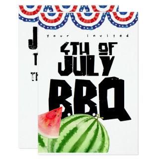 Tarjeta cuarto de la barbacoa colorida de julio
