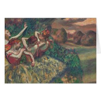 Tarjeta Cuatro bailarines, Edgar Degas